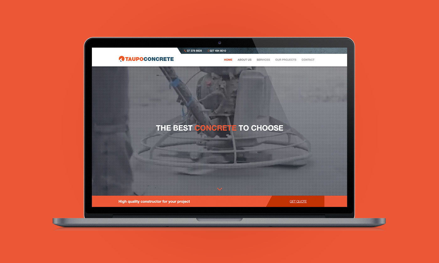 Taupo Concrete, Web Design & Development, ninetyblack